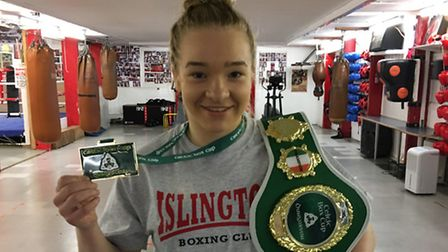 Islington BC's Amy Broadhurst with her gold medal at the Celtic Box Cup