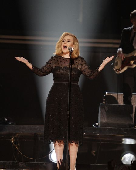 Adele performs at the Grammy Awards in 2012, where she won Album of the Year for 21 and Song of the