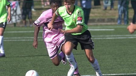 Hendon's Spencer McCall (right) scored the opening goal against Dulwich Hamlet on Monday. Pic: DBeec