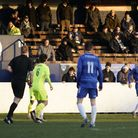 Before lockdown, Lowestoft Town FC in action at Crown Meadow versus Hednesford Town FC in January 20
