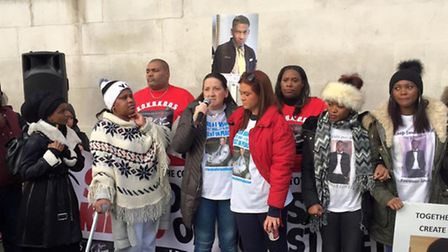 Tracey Hanson, centre, with her daughter Brooke, and other relatives of knife crime victims
