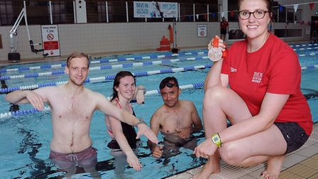 Olympic medallist Cassandra Patten (right) with (from left) is Tom Wilkinson, Bethany Martin and Tim