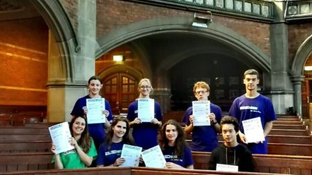 The campers in the Chapel with their certificates