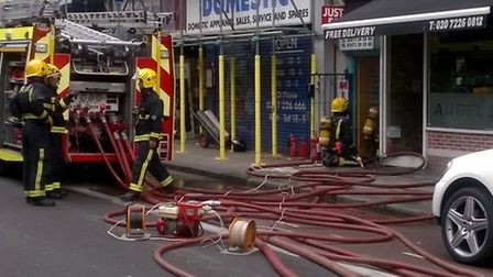 Fire crews in Essex Road, Islington, this afternoon. Picture: Twitter/@LondonFire