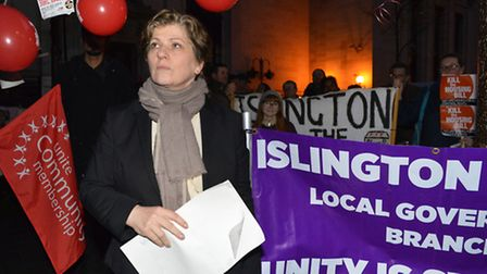 Emily Thornberry MP at a Housing Bill protest outside Islington Town Hall, in her current Islington