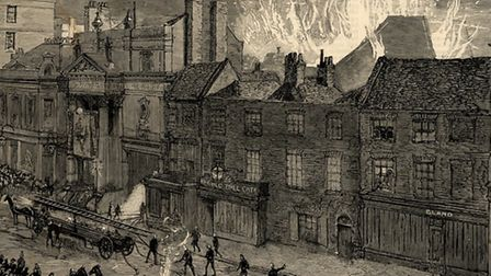 The second Grand Theatre fire in Islington High Street, 1887. Picture: Islington Local History Centr