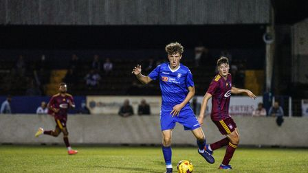 Lowestoft Town defender Josh Wells featuring against an Ipswich XI in September 2020 at Crown Meadow.