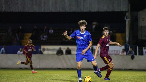 Lowestoft Town defenderJosh Wells featuring against an Ipswich XI in September 2020 at Crown Meadow.