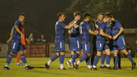 Bury Town v Lowestoft Town 15th September 2020. Photo shows Lowestoft players congratulating Louis M