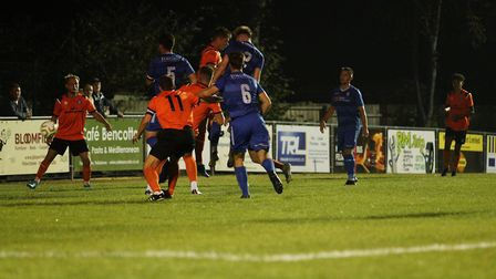 Bury Town v Lowestoft Town 15th September 2020. Photo shows Lowestoft player Josh Curry heading home