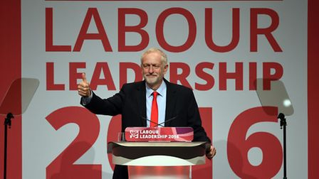 Jeremy Corbyn celebrates his victory in the Labour leadership election. Picture: Joe Giddens/PA Wire