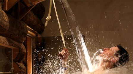 The Banya No. 1 bucket shower is refreshing after baking in the sauna