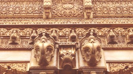 First traditional Hindu Mandir outside India. 2,000 tonnes of Italian marble and 2,828 tonnes of Bul