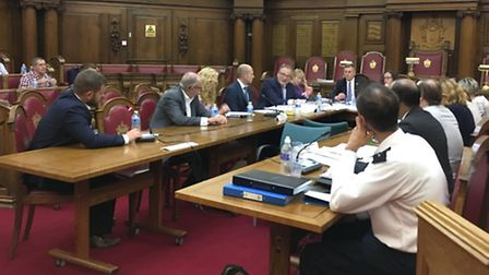 The licensing sub committee meeting in Islington Town Hall. Fabric co-founder Cameron Leslie is pict
