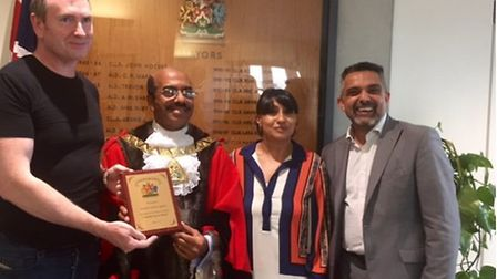 Francis Henry with Cllr Parvez Ahmed, Mayor of Brent and Cllr Muhammed Butt, leader of Brent Council