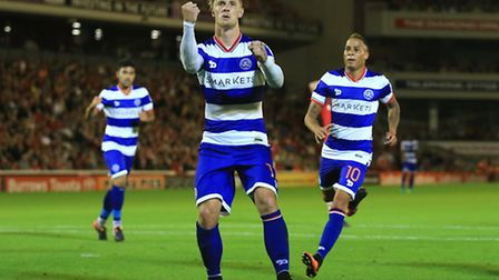 Queens Park Rangers' Sebastian Polter celebrates scoring his side's second goal of the game against