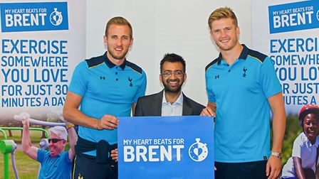 Spurs stars Harry Kane and Eric Dier with Cllr Krupesh Hirani at the launch of My Heart Beats For Br