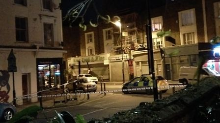 Police taped off King Henry's Walk, Newington Green, at the junctions with Queen Margaret's Grove, S