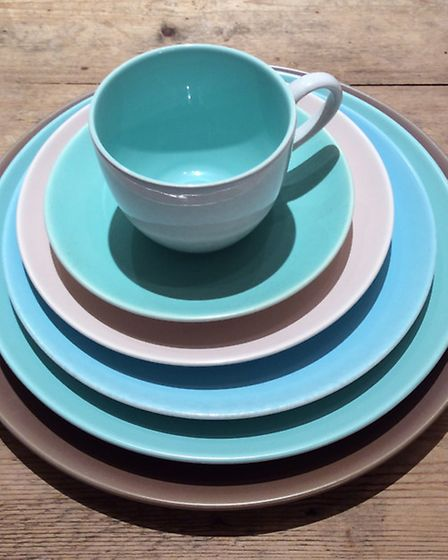 Poole pottery twin tone dining set from Monica Rivron/Juxtapose London