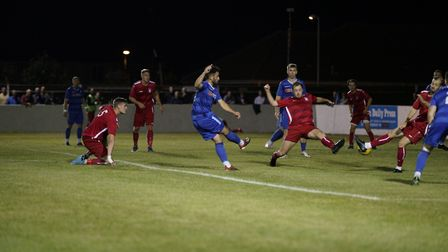 Lowestoft Town player Louis McIntosh scores for The Blues in their 2-3 defeat versus Aveley FC on Se