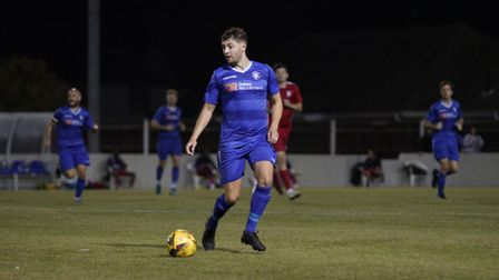 Lowestoft Town's Jack Wilkinson in action versus Aveley FC in the Emirates FA Cup at Crown Meadow. P