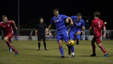 Lowestoft Town's Rossi Jarvis and Jacek Zielonka in action versus Aveley FC in the Emirates FA Cup a