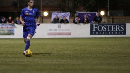 Lowestoft Town's Owen Murphy in action versus Aveley FC in the Emirates FA Cup at Crown Meadow. Pict