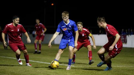 Lowestoft Town's Kieran Higgs in action versus Aveley FC in the Emirates FA Cup at Crown Meadow. Pic