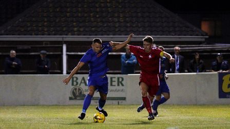 Lowestoft Town's Jake Reed in action versus Aveley FC in the Emirates FA Cup at Crown Meadow. Pictur