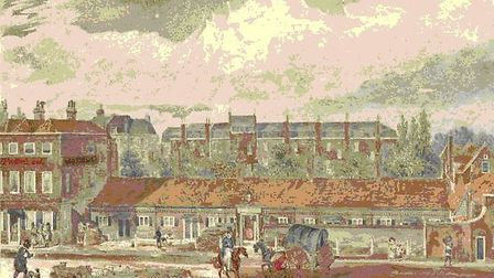A painting, circa 1880, of the Dame Alice Owen Alms House with the Old Red Lion pub next door. Pictu