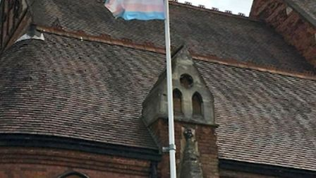 The LGBT and trans flags once flew proudly on St James' church