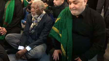 Morgan Freeman paid a three-hour visit to the mosque (Pic: Yousif Al-Khoei)