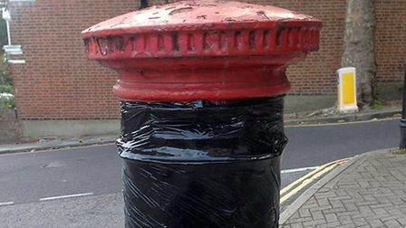 A taped up letter box in Cressida Road, Archway. Picture: Dorothy Boswell