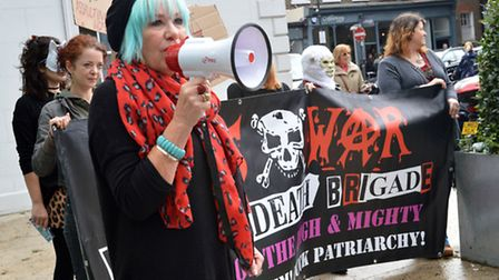 Jane Nicholl and protesters outside Foxtons in Upper Street. Picture: Polly Hancock