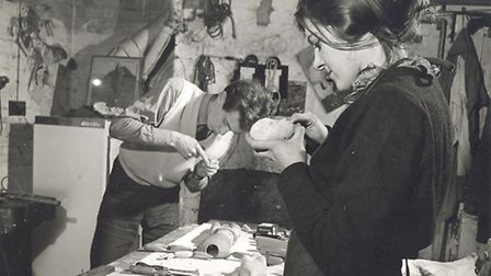 Christopher Leith and Lyndie Wright in the Little Angel Theatre workshop. Picture: Little Angel Thea