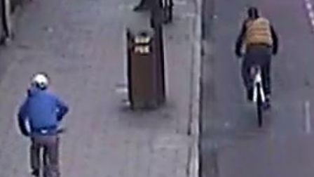 The two phone snatch suspects in Holloway Road. Picture: Met Police
