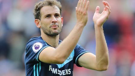 Middlesbrough's Christian Stuani celebrates his team's win at Sunderland earlier this season.