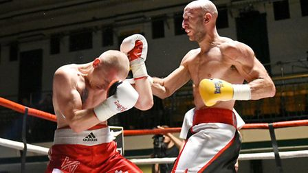 Tony Milch (right) in action during his last fight against Konstantin Alexandrov