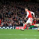 Mesut Ozil scores his secocnd goal - and Arsenal's fourth - in their Champions League win over Ludog