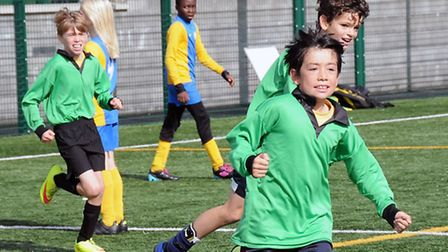 Ten-year-old Clement Nye celebrates his goal in the final. Pic: Dieter Perry