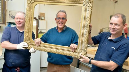 Leonard Villa in his Caledonian Road workshop with framers Patrick and Sean Murphy. Picture: Polly H