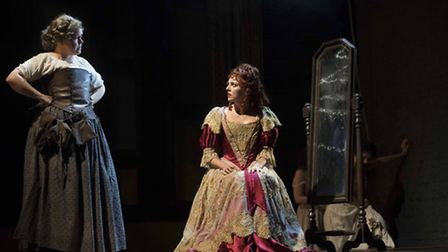 Lizzie Roper and Ophelia Lovibond in The Libertine. Picture: Alastair Muir