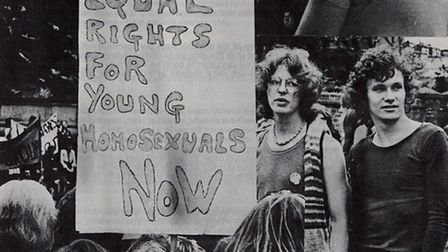 A collage of photographs from the first gay rights rally in Highbury Fields, 1971. Picture: Islingto
