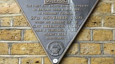 Plaque to commemorate first gay rights demo in Britain, Highbury Fields. Picture: John Levin/Creativ