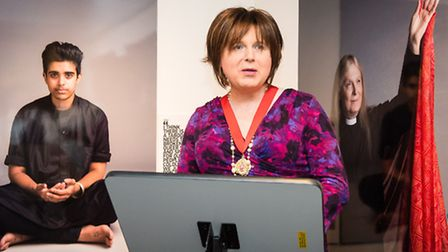 Islington councillor Osh Gantly speaks at the UK's first exhibition on transgender people of faith -