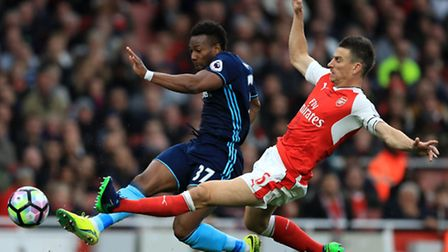 Middlesbrough's Adama Traore (left) is tackled by Arsenal's Laurent Koscielny during Saturday's 0-0