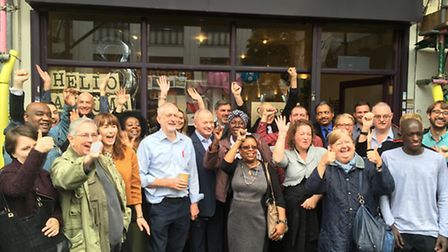 Jeremy Corbyn with Outpost staff and clients in Holloway Road this afternoon. The Islington North MP