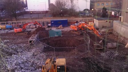 The scene of the construction site off Goswell Road, Finsbury, in January