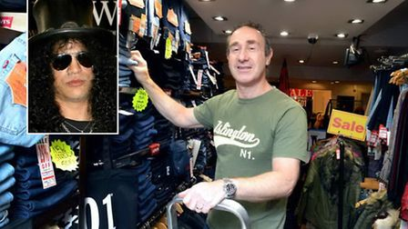 Murray Hoffman at the Highbury Jean Centre in Chapel Market. Inset, Slash was once a customer. Pictu