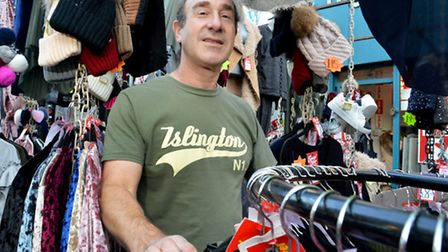 Murray Hoffman on his clothing stall at Chapel Market